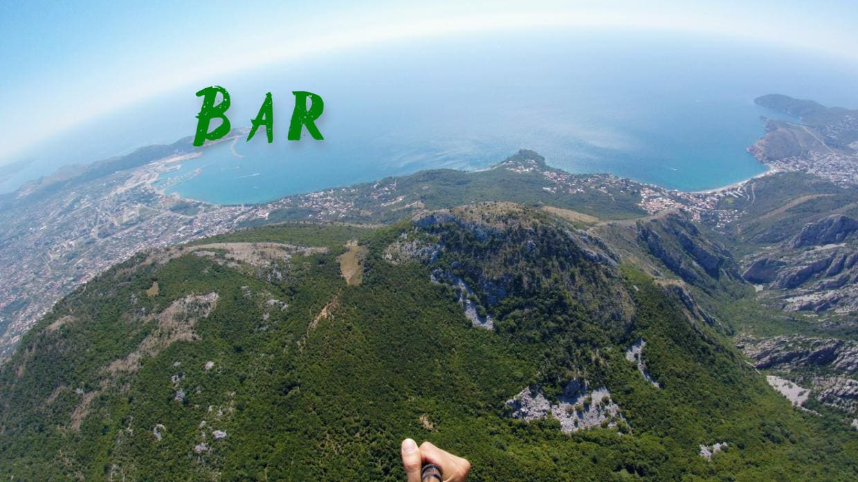 Highly panoramic paragliding in city of Bar Montenegro