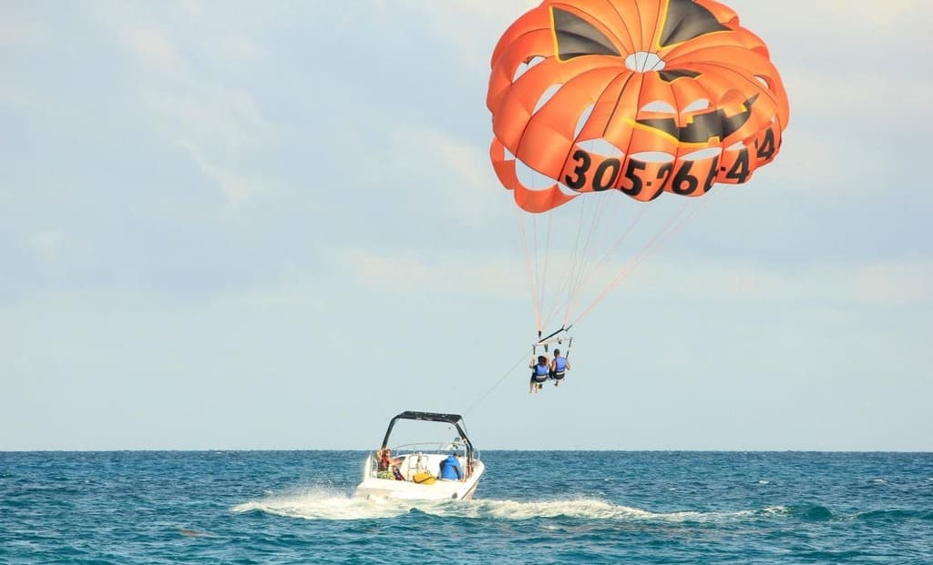 Parasailing at the resorts of Budva in Montenegro